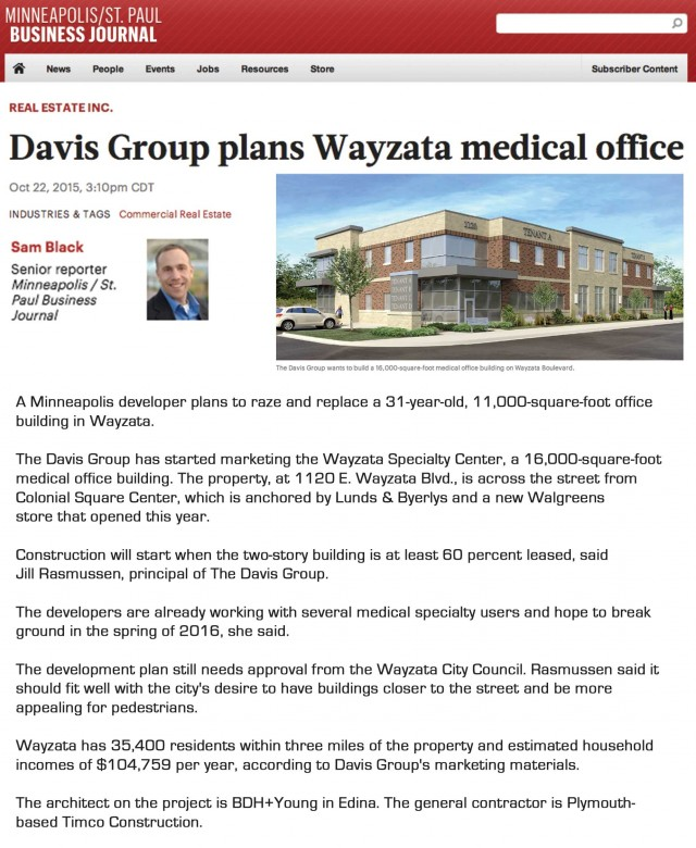 Minneapolis/St. Paul Business Journal: Davis Group Plans Wayzata Medical Office