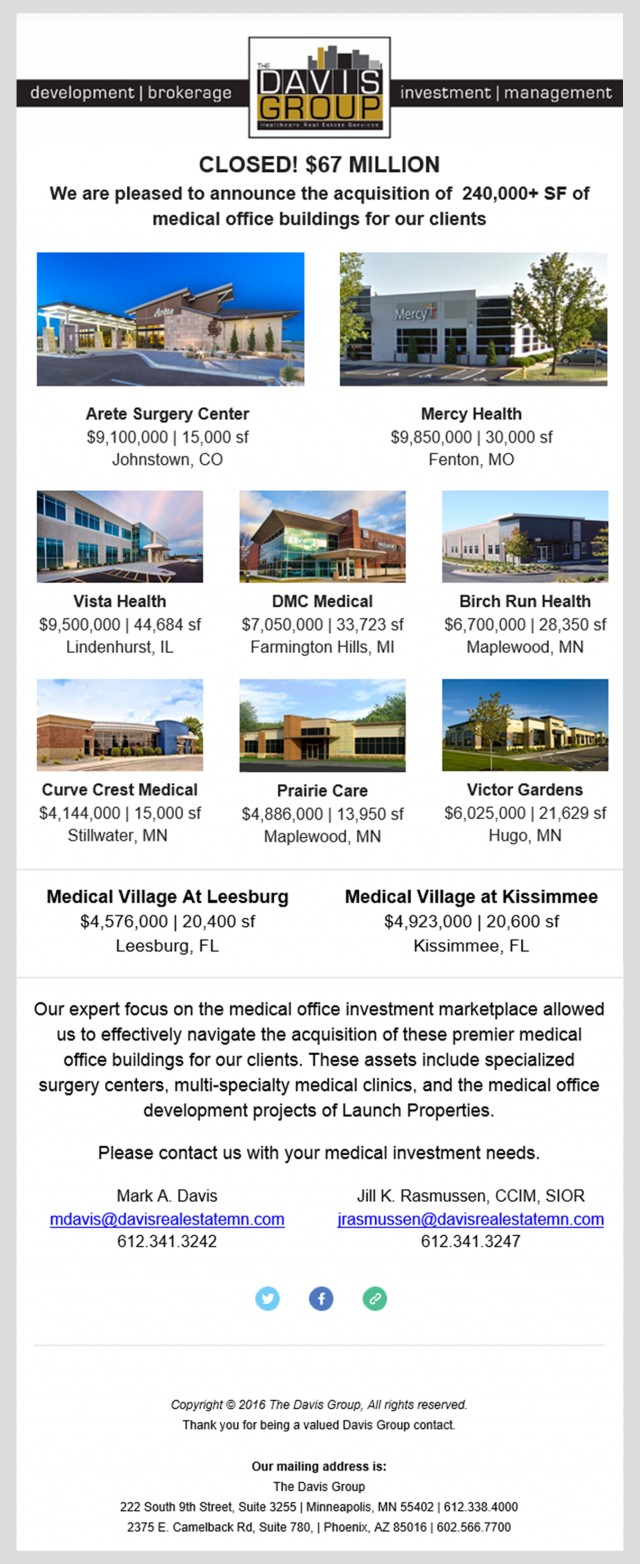 We are pleased to announce the acquisition of 240,000+ SF of medical office buildings for our clients