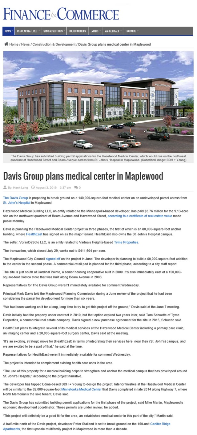 Finance & Commerce: Davis Group plans medical center in Maplewood.